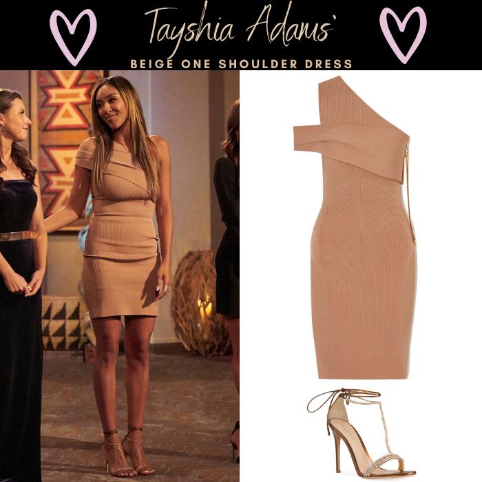Tayshia Adams' Beige One Shoulder Dress