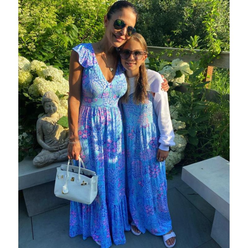 Bethenny Frankel and Bryn Hoppy's Blue Printed Maxi Dresses