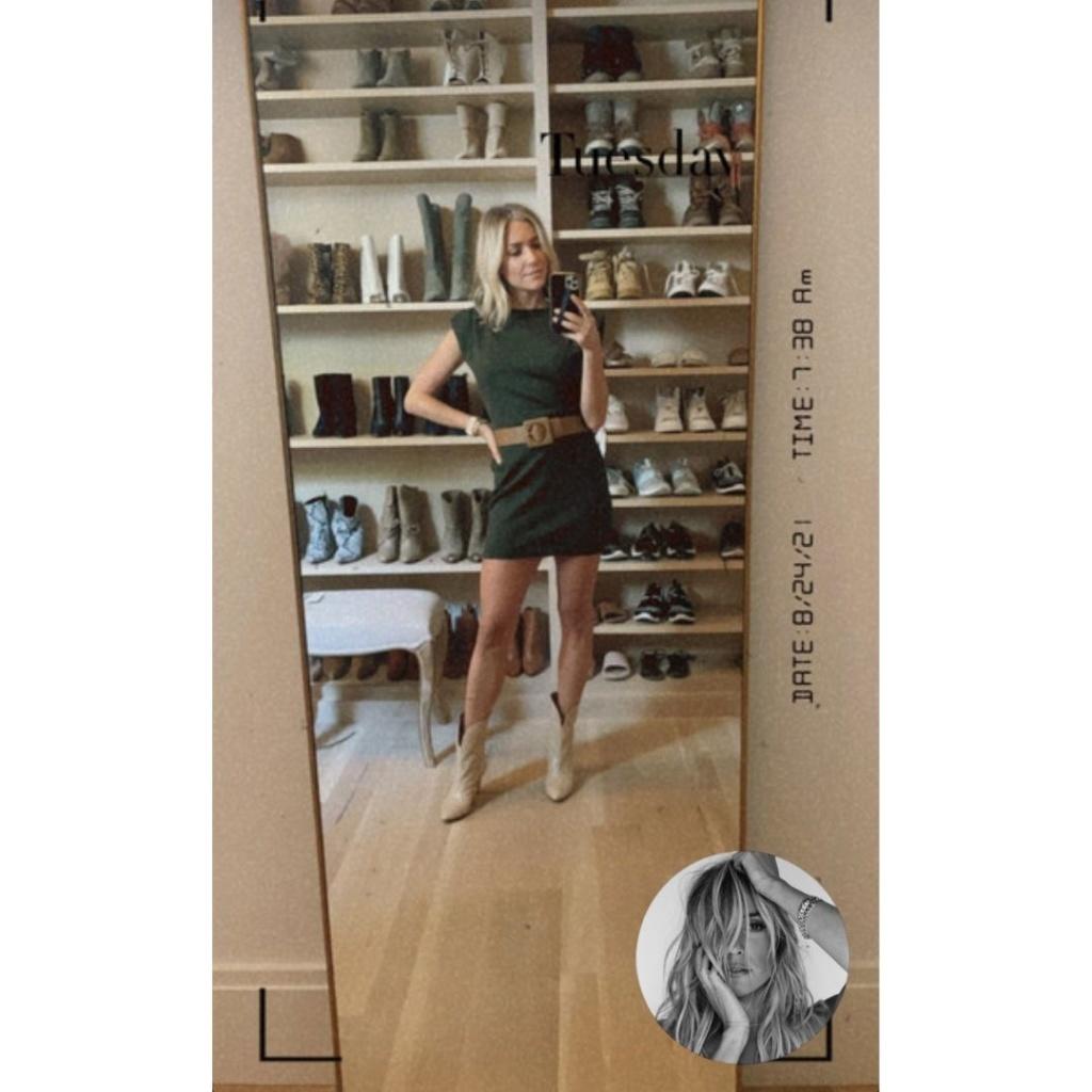Kristin Cavallari's Green Padded Shoulder Dres